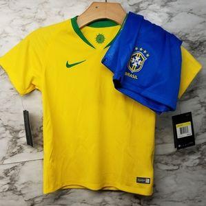 Nike Brazil Nation Team Jersey & Shorts Sz S New